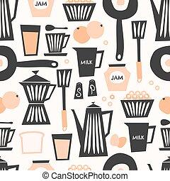 Seamless Breakfast Pattern - Mid-century style seamless...