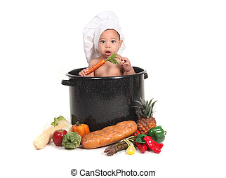 Baby  Boy in a Chef Pot