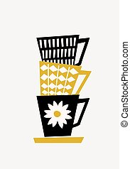 Retro Coffee Cups - Mid-century style illustration of...