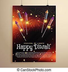 diwali festival flyer template with flying rocket crackers and fireworks