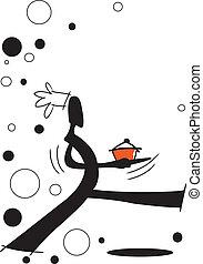 shadow man cooking - illustration shadow man cartoon walking...