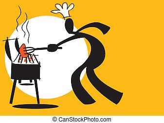 shadow man cooking - illustration shadow man cartoon cooking...