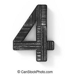 3d black number 4 - 3d rendering black wooden number 4...