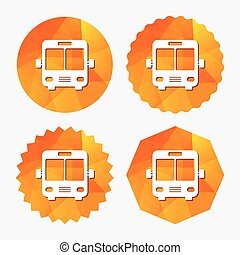Bus sign icon. Public transport symbol. Triangular low poly...