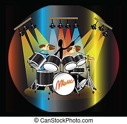 shadow man drum - illustration shadow man playing drum set...