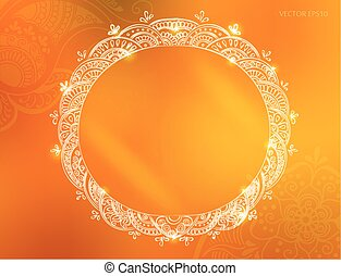tattoo henna background - Vector round tattoo henna frame....