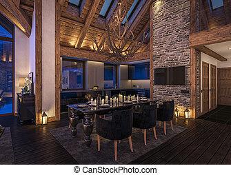 3D rendering of evening living room of chalet - 3D rendering...