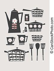 Retro Kitchen Set - Mid-century style illustration of a set...