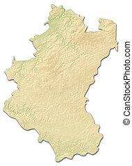 Relief map - Luxembourg (Belgium) - 3D-Rendering