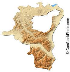 Relief map - St. Gallen (Swizerland) - 3D-Rendering