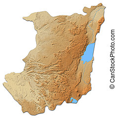 Relief map - North Kivu (Democratic Republic of the Congo) - 3D-Rendering
