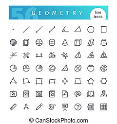 Geometry Line Icons Set - Set of 56 geometry line icons...