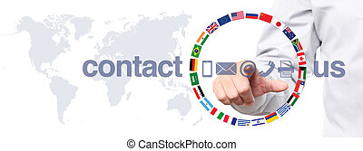 hand touch screen display with global contact us concept...