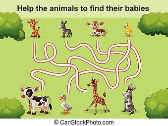 Help the animals to find babies - Vector illustration of...