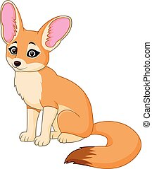 Cute red fox sitting - Vector illustration of Cute red fox...