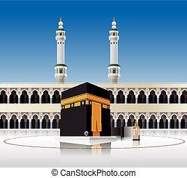Kaaba Mecca Saudi Arabia - Vector illustration of Kaaba...