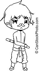 illustration vector hand drawn doodle of little boy wearing...