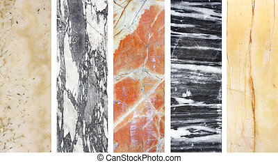 Collection of banners with marble texture - Set of banners...