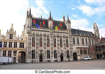 Tower hall (Stadhuis van Brugge) in Bruges, Belgium -...