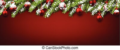 New Year banner with Christmas balls. - New Year banner with...