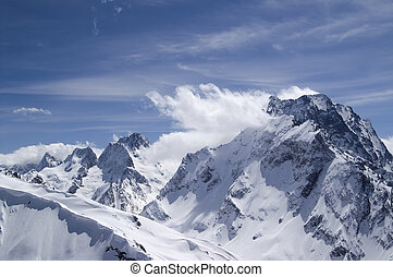 Caucasus. Mount Dombai-Ulgen. View from the top of Musa...