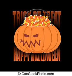 Pumpkin basket for Halloween. Trick or treat. Corn candy for...