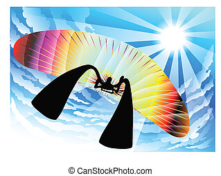 shadow man paragliding - illustration shadow man cartoon...