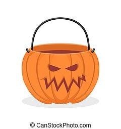 Pumpkin basket empty for Halloween. Horrible vegetable...