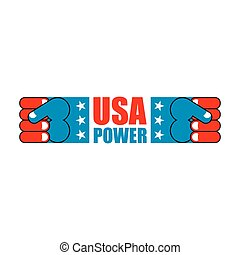 USA Patriot fist emblem. Sign of strong America. Logo for armed forces. Illustration for Patriot Day. American power hand