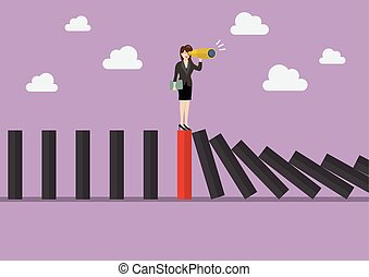 Business woman search in business strategy on red domino...