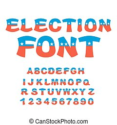 Election font. Political debate in America alphabet. USA National ABC. Colors of American flag letters