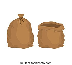 Big knotted sack Full and empty. Brown textile bag of potatoes oder grain. Farm object