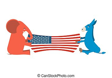 Elephant and Donkey divide USA flag. Political Party of America. Republicans against Democrats. Presidential Election United States