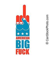 Américain, grand, fuck, USA, patriote, signe, Symbole, de,...