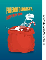 Paleontologists new year. Dinosaur skeleton in red sack...