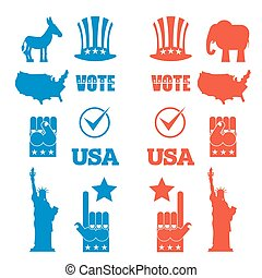 American Elections icon set. Republican elephant and Democratic donkey. Symbols of political parties in America. Statue of Liberty and USA map. Fist and Uncle Sam hat
