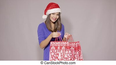Happy young woman shopping for Christmas gifts - Happy young...