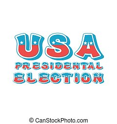 USA presidental election typography. Political debate in America lettering. US National alphabet. Colors of American flag letters