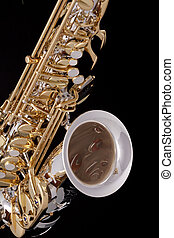 Saxophone On Black Background - A professional saxophone...