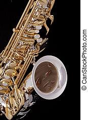 saxofon, dále, čerň, Grafické Pozadí