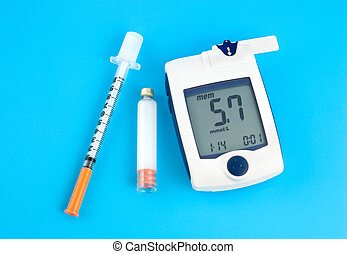 Glucose meter, Insulin and syringe on a blue background