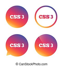 CSS3 sign icon. Cascading Style Sheets symbol. Gradient...