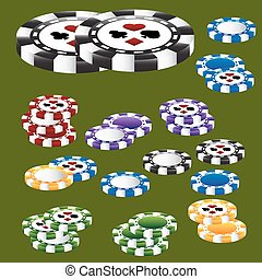 Poker Chip Card Suits - A 3D image of poker chips