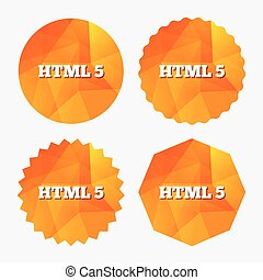 HTML5 sign icon. New Markup language symbol. Triangular low...