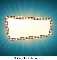 Blank 3d retro light banner with shining bulbs. Red sign with yellow and blue lights and blank space for text. Vintage street signboard. Advertising frame with glow. Colorful vector illustration.