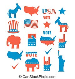 American Elections icon set. Republican elephant and...