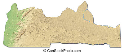 Relief map - South (Cameroon) - 3D-Rendering - Relief map of...
