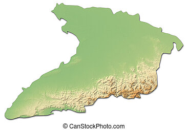 Relief map - Granma (Cuba) - 3D-Rendering - Relief map of...