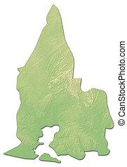 Relief map - Sud-Comoe (Ivory Coast) - 3D-Rendering - Relief...