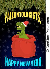 New year Paleontologists . Dinosaur T- rex in red sack Santa...